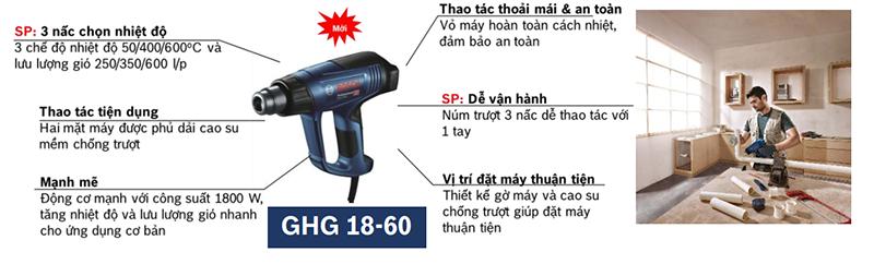 Máy thổi hơi nóng Bosch GHG 18-60