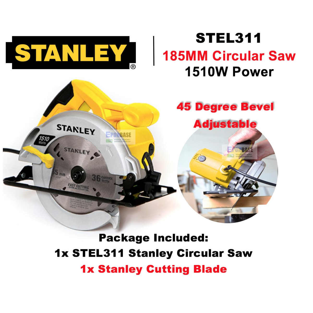 Máy cưa đĩa 1510W Stanley STEL 311