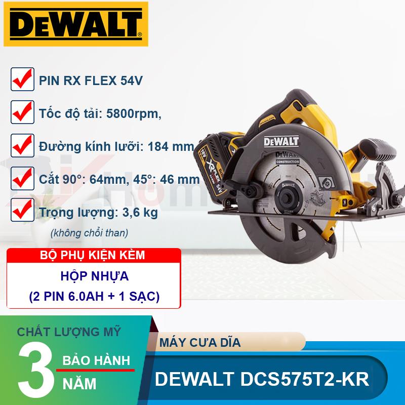 Máy cưa gỗ dùng pin Dewalt DCS575T2-KR
