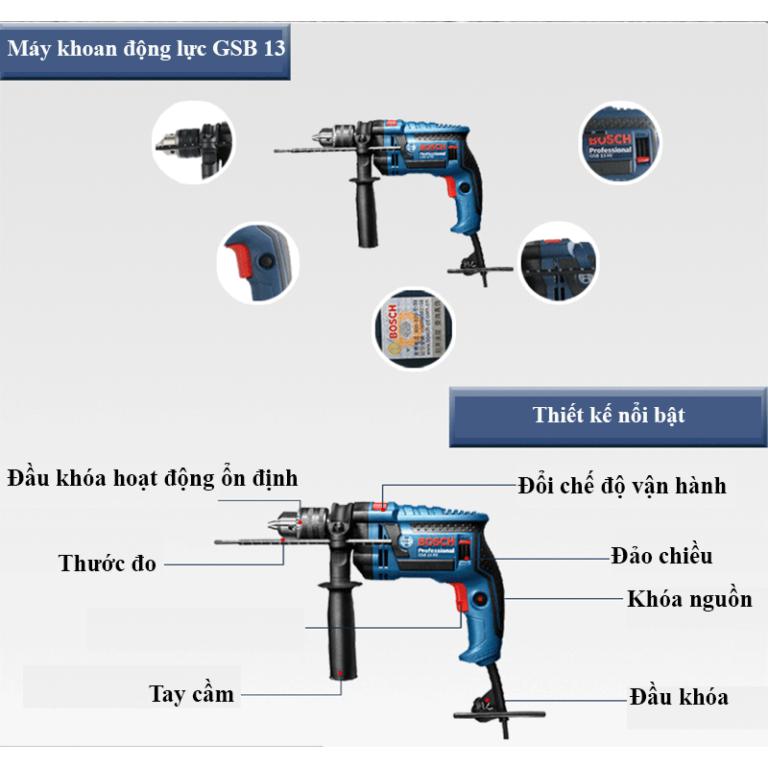Ưu điểm của máy khoan cầm tay Bosch GSB 13RE SET