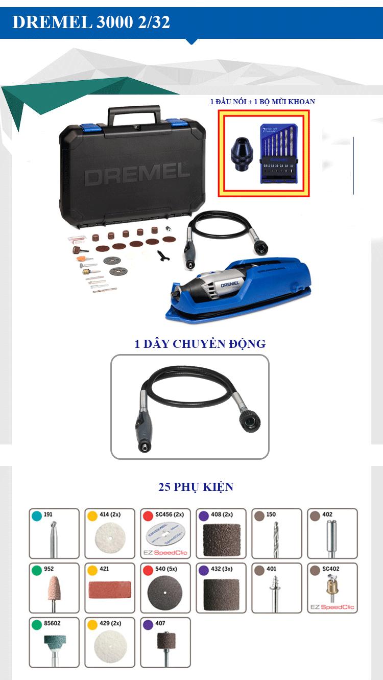Bộ dụng cụ đa năng Dremel 3000 2/32 với những cải tiến mới